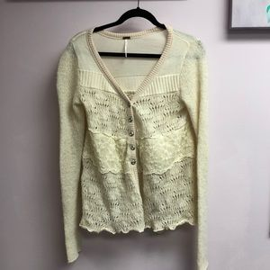 Free People Cream Small Sweater with lace